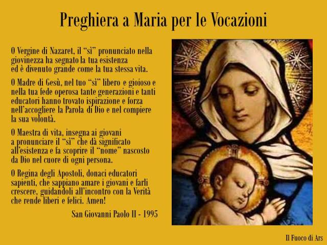 Preghiera a Maria per le vocazioni