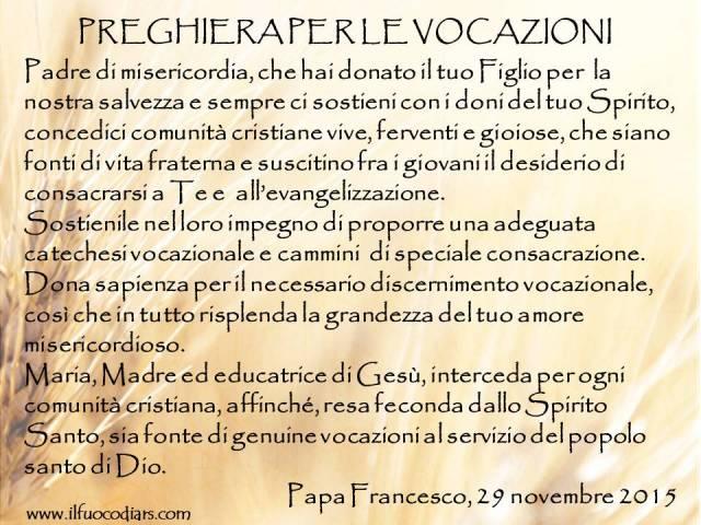 Preghiera vocazioni Papa Francesco 2
